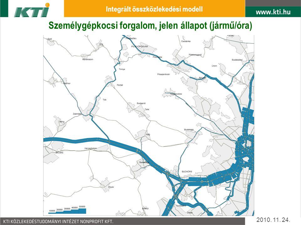 Személygépkocsi forgalom, jelen állapot (jármű/óra) 2010. 11. 24. Integrált összközlekedési modell