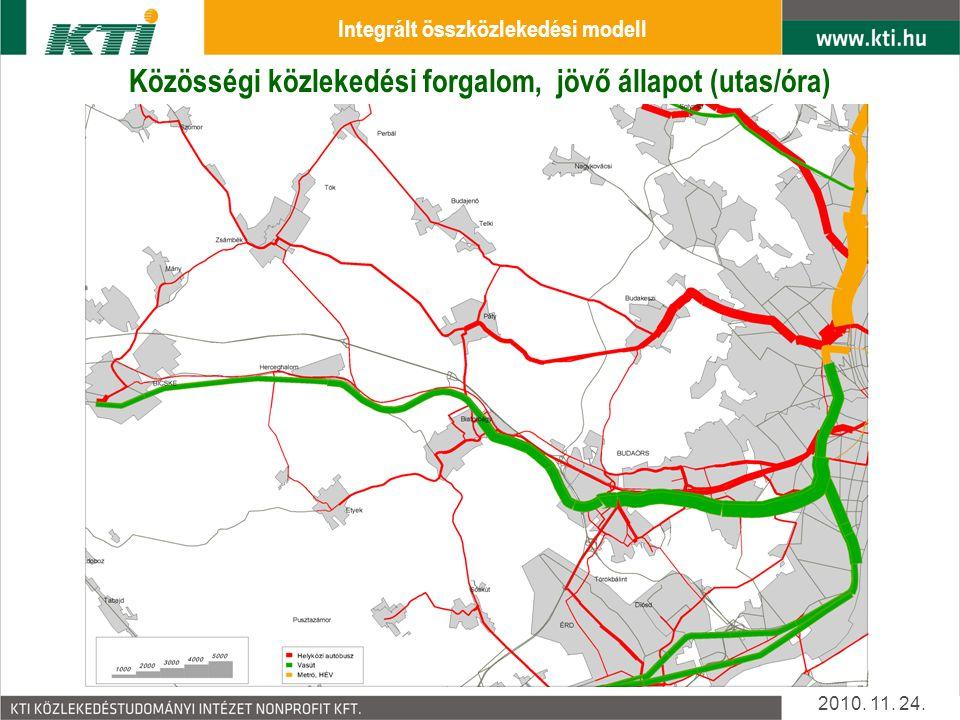 Közösségi közlekedési forgalom, jelen állapot (utas/óra) 2010.