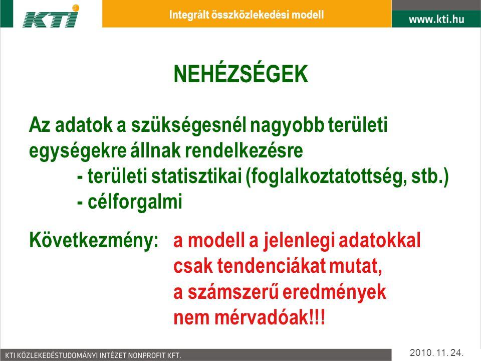 MODELL FELÉPÍTÉS Statisztikai adatok 2010.11. 24.
