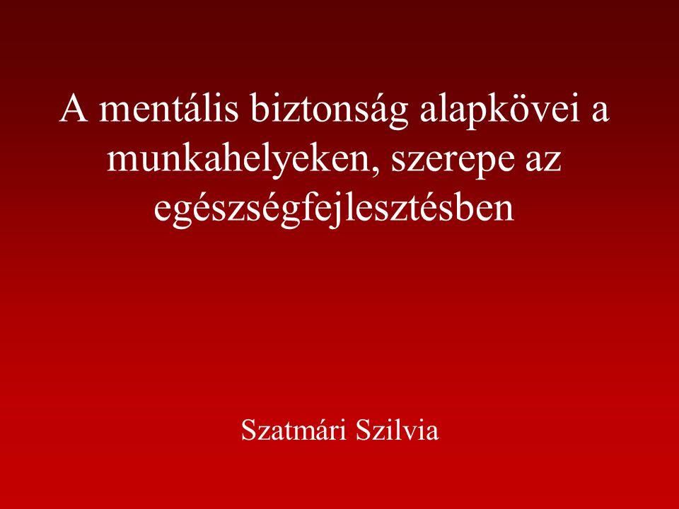 A mentális biztonság alapkövei a munkahelyeken, szerepe az egészségfejlesztésben Szatmári Szilvia