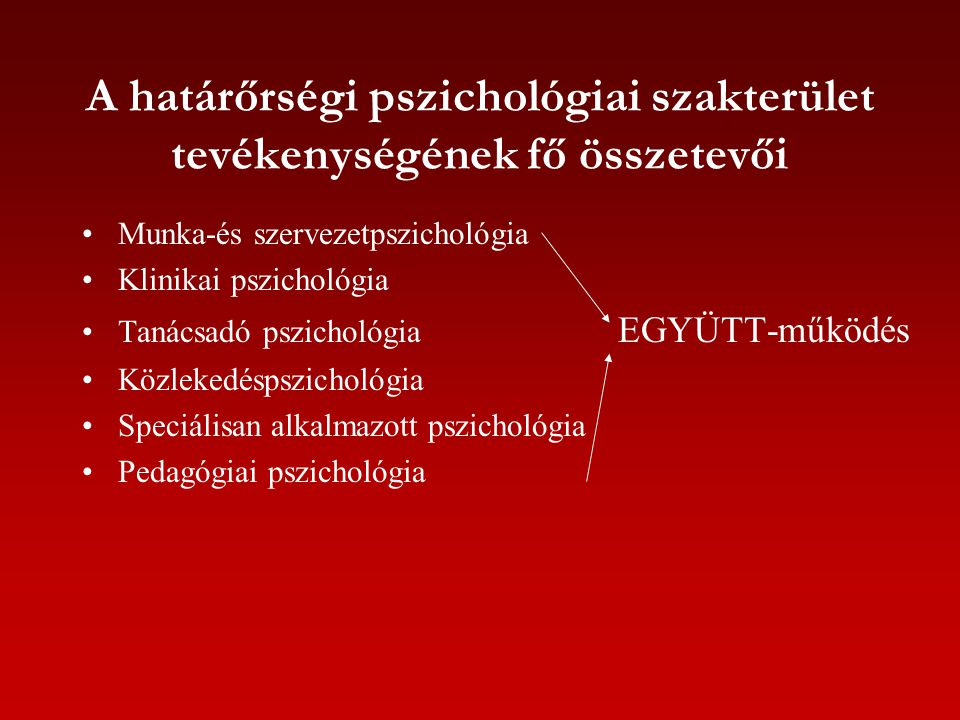 A határőrségi pszichológiai szakterület tevékenységének fő összetevői Munka-és szervezetpszichológia Klinikai pszichológia Tanácsadó pszichológia EGYÜ
