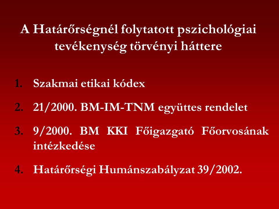 A Határőrségnél folytatott pszichológiai tevékenység törvényi háttere 1.Szakmai etikai kódex 2.21/2000. BM-IM-TNM együttes rendelet 3.9/2000. BM KKI F