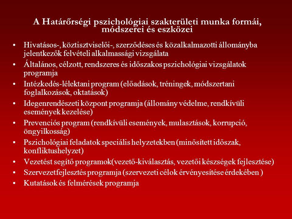 A Határőrségi pszichológiai szakterületi munka formái, módszerei és eszközei Hivatásos-, köztisztviselői-, szerződéses és közalkalmazotti állományba j
