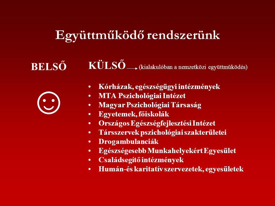 Együttműködő rendszerünk BELSŐ ☺ KÜLSŐ (kialakulóban a nemzetközi együttműködés) Kórházak, egészségügyi intézmények MTA Pszichológiai Intézet Magyar P