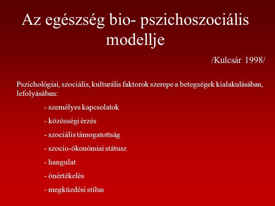 Az egészség bio- pszichoszociális modellje /Kulcsár 1998/ Pszichológiai, szociális, kulturális faktorok szerepe a betegségek kialakulásában, lefolyásá