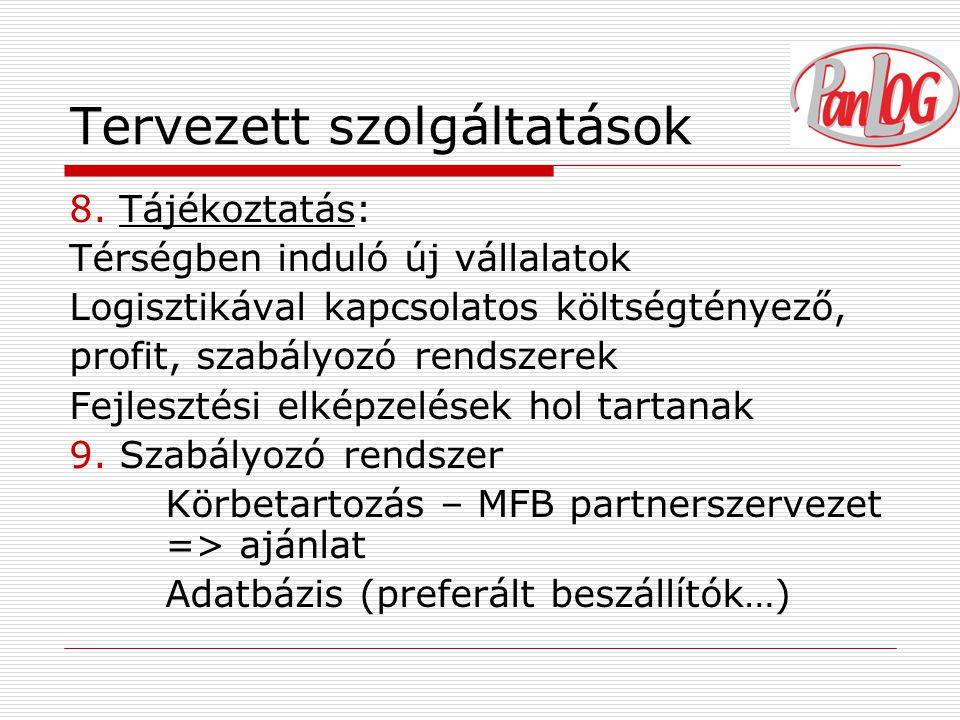 Tervezett szolgáltatások 8.