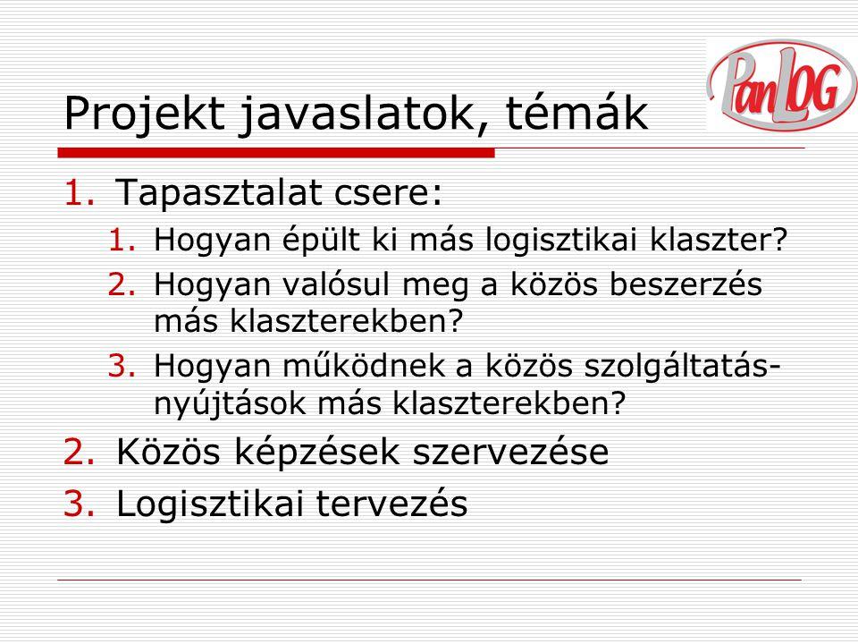 Projekt javaslatok, témák 1.Tapasztalat csere: 1.Hogyan épült ki más logisztikai klaszter.