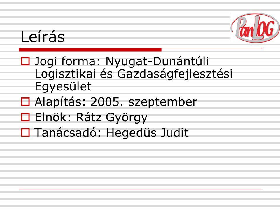Leírás  Jogi forma: Nyugat-Dunántúli Logisztikai és Gazdaságfejlesztési Egyesület  Alapítás: 2005.