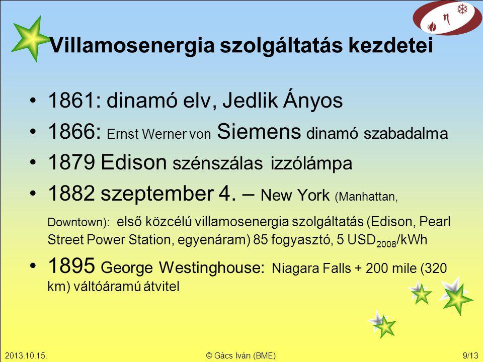 2013.10.15.© Gács Iván (BME)9/13 Villamosenergia szolgáltatás kezdetei 1861: dinamó elv, Jedlik Ányos 1866: Ernst Werner von Siemens dinamó szabadalma 1879 Edison szénszálas izzólámpa 1882 szeptember 4.