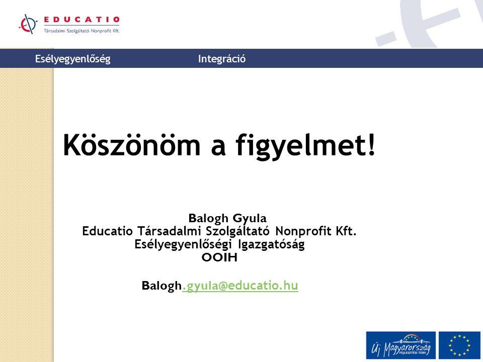 Esélyegyenlőség Integráció Köszönöm a figyelmet! Balogh Gyula Educatio Társadalmi Szolgáltató Nonprofit Kft. Esélyegyenlőségi Igazgatóság OOIH Balogh.