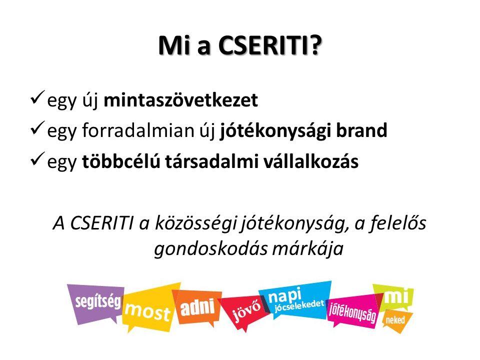 Mi a CSERITI? egy új mintaszövetkezet egy forradalmian új jótékonysági brand egy többcélú társadalmi vállalkozás A CSERITI a közösségi jótékonyság, a