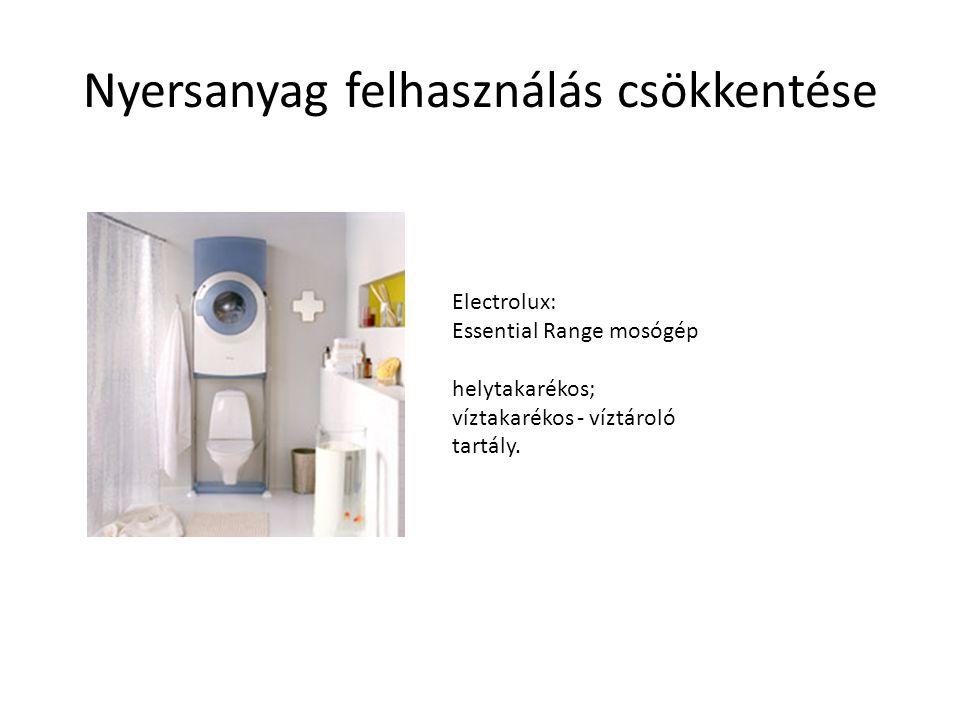 Nyersanyag felhasználás csökkentése Electrolux: Essential Range mosógép helytakarékos; víztakarékos - víztároló tartály.