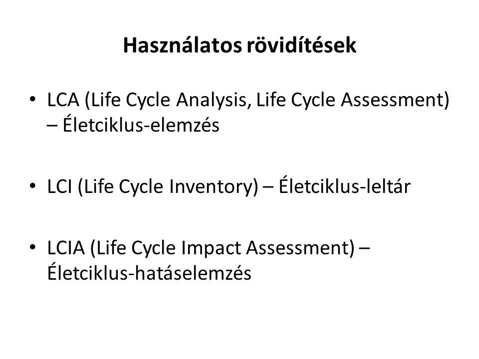 Használatos rövidítések LCA (Life Cycle Analysis, Life Cycle Assessment) – Életciklus-elemzés LCI (Life Cycle Inventory) – Életciklus-leltár LCIA (Lif