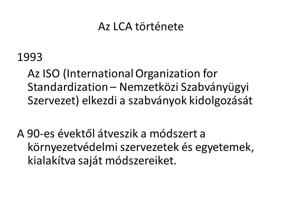 Az LCA története 1993 Az ISO (International Organization for Standardization – Nemzetközi Szabványügyi Szervezet) elkezdi a szabványok kidolgozását A