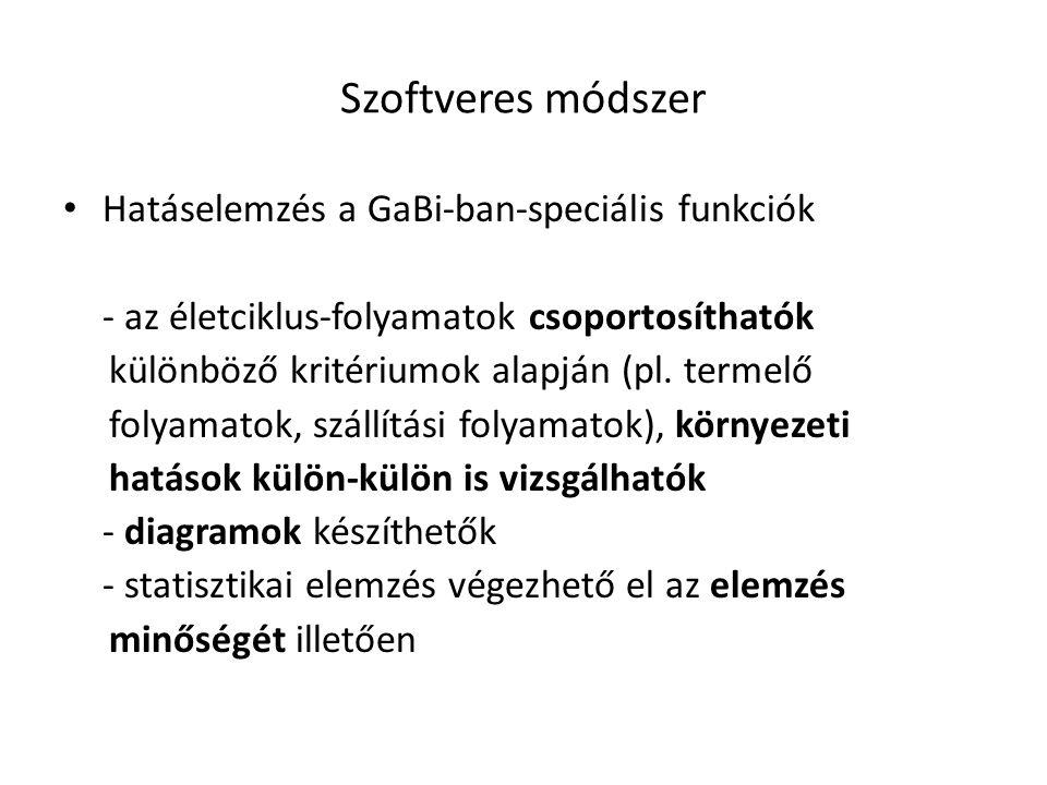 Szoftveres módszer Hatáselemzés a GaBi-ban-speciális funkciók - az életciklus-folyamatok csoportosíthatók különböző kritériumok alapján (pl. termelő f