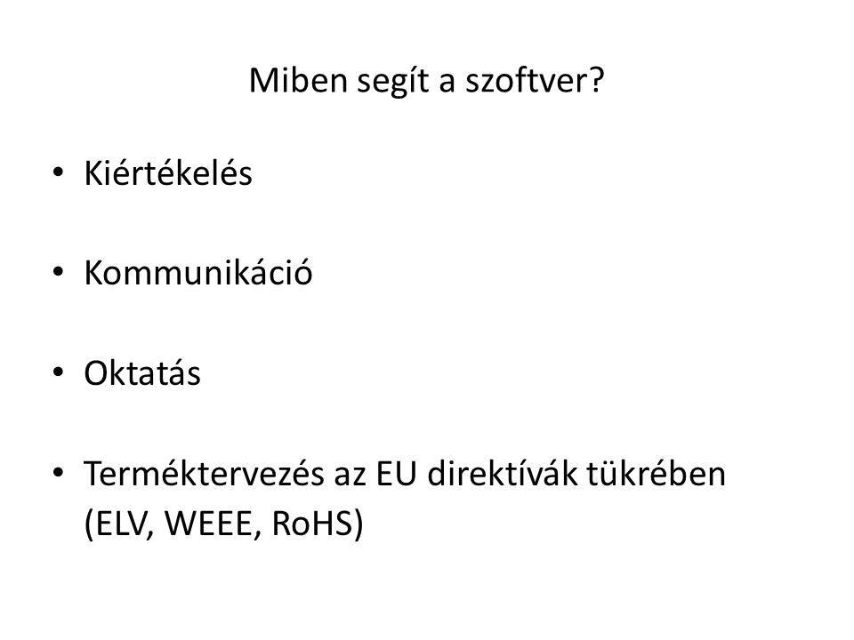 Miben segít a szoftver? Kiértékelés Kommunikáció Oktatás Terméktervezés az EU direktívák tükrében (ELV, WEEE, RoHS)
