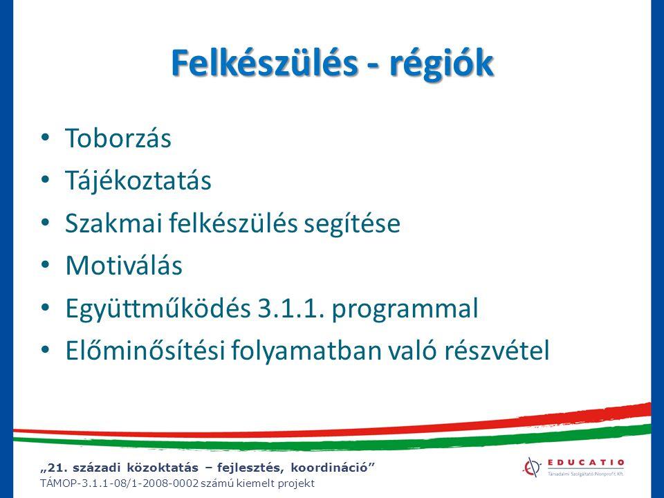 """""""21. századi közoktatás – fejlesztés, koordináció"""" TÁMOP-3.1.1-08/1-2008-0002 számú kiemelt projekt Felkészülés - régiók Toborzás Tájékoztatás Szakmai"""