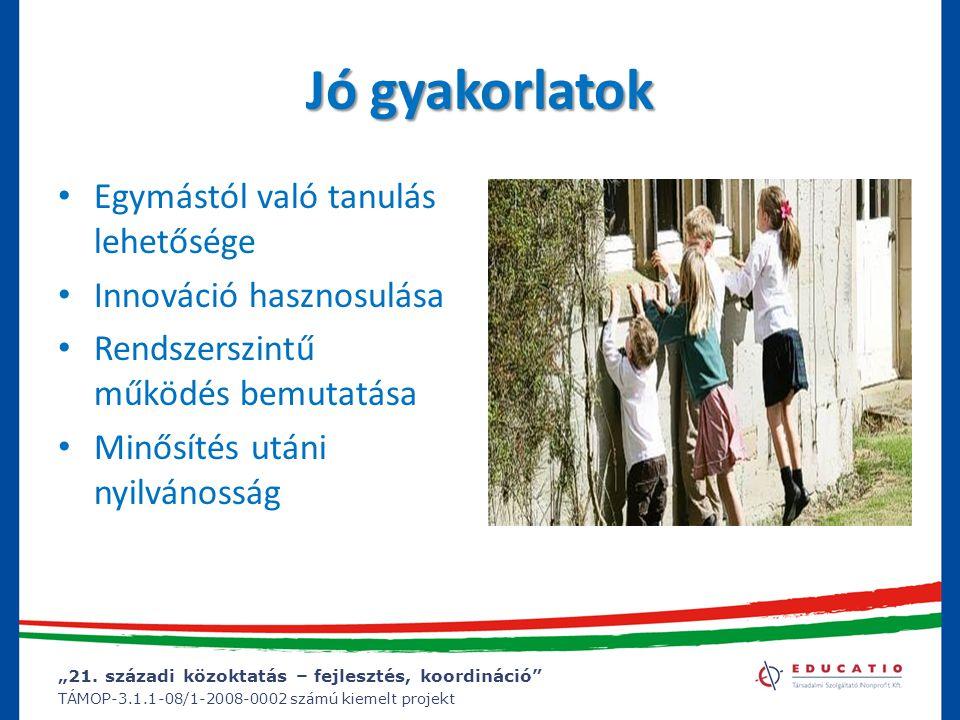 """""""21. századi közoktatás – fejlesztés, koordináció"""" TÁMOP-3.1.1-08/1-2008-0002 számú kiemelt projekt Jó gyakorlatok Egymástól való tanulás lehetősége I"""