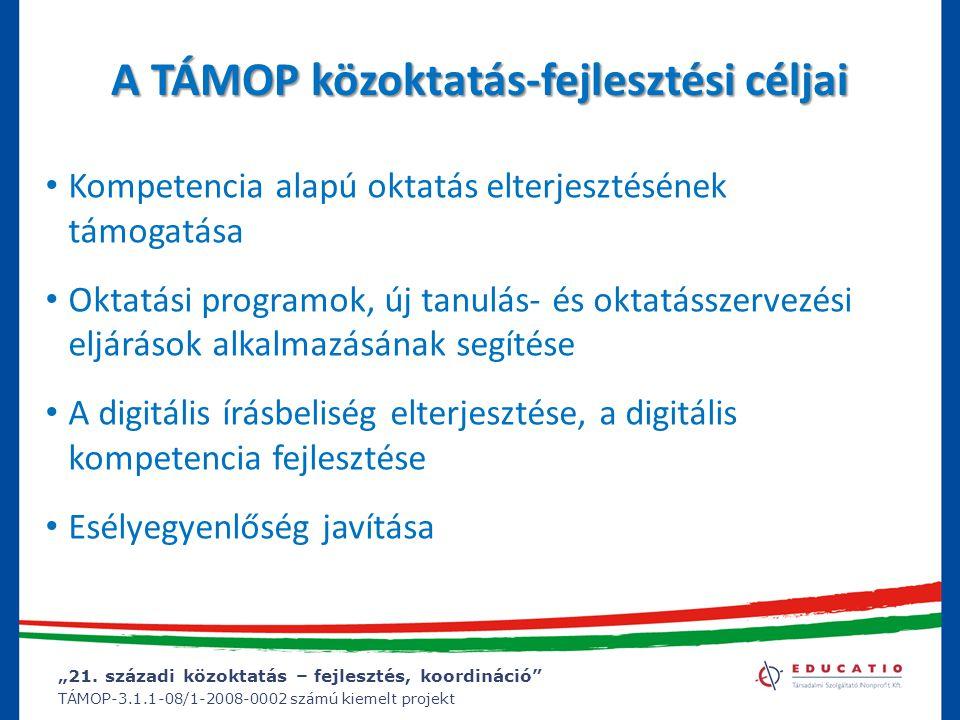 """""""21. századi közoktatás – fejlesztés, koordináció"""" TÁMOP-3.1.1-08/1-2008-0002 számú kiemelt projekt A TÁMOP közoktatás-fejlesztési céljai Kompetencia"""