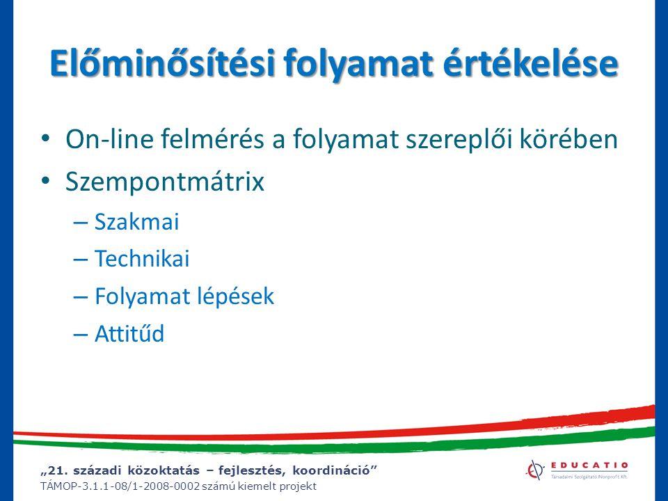 """""""21. századi közoktatás – fejlesztés, koordináció"""" TÁMOP-3.1.1-08/1-2008-0002 számú kiemelt projekt Előminősítési folyamat értékelése On-line felmérés"""