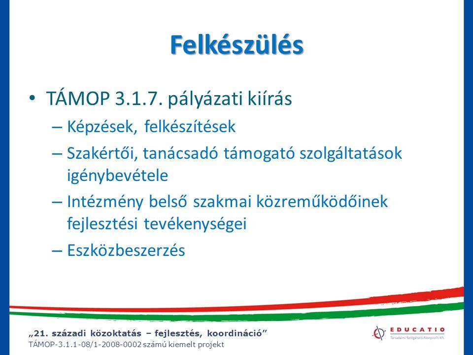 """""""21. századi közoktatás – fejlesztés, koordináció"""" TÁMOP-3.1.1-08/1-2008-0002 számú kiemelt projekt Felkészülés TÁMOP 3.1.7. pályázati kiírás – Képzés"""