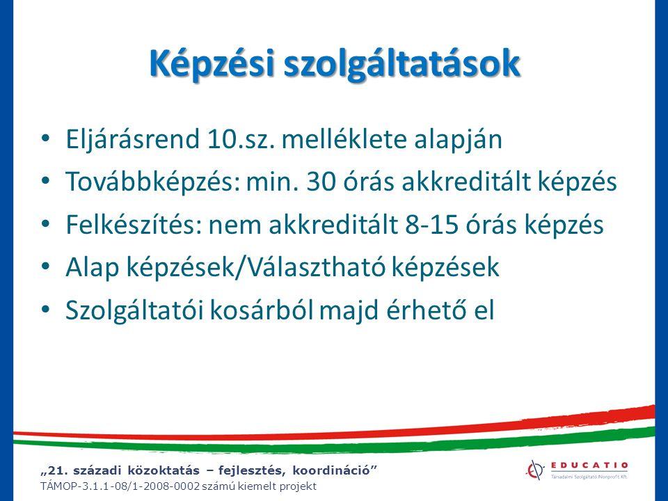 """""""21. századi közoktatás – fejlesztés, koordináció"""" TÁMOP-3.1.1-08/1-2008-0002 számú kiemelt projekt Képzési szolgáltatások Eljárásrend 10.sz. mellékle"""