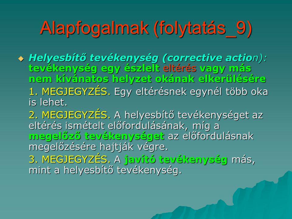 Alapfogalmak (folytatás_9)  Helyesbítő tevékenység (corrective action): tevékenység egy észlelt eltérés vagy más nem kívánatos helyzet okának elkerülésére 1.