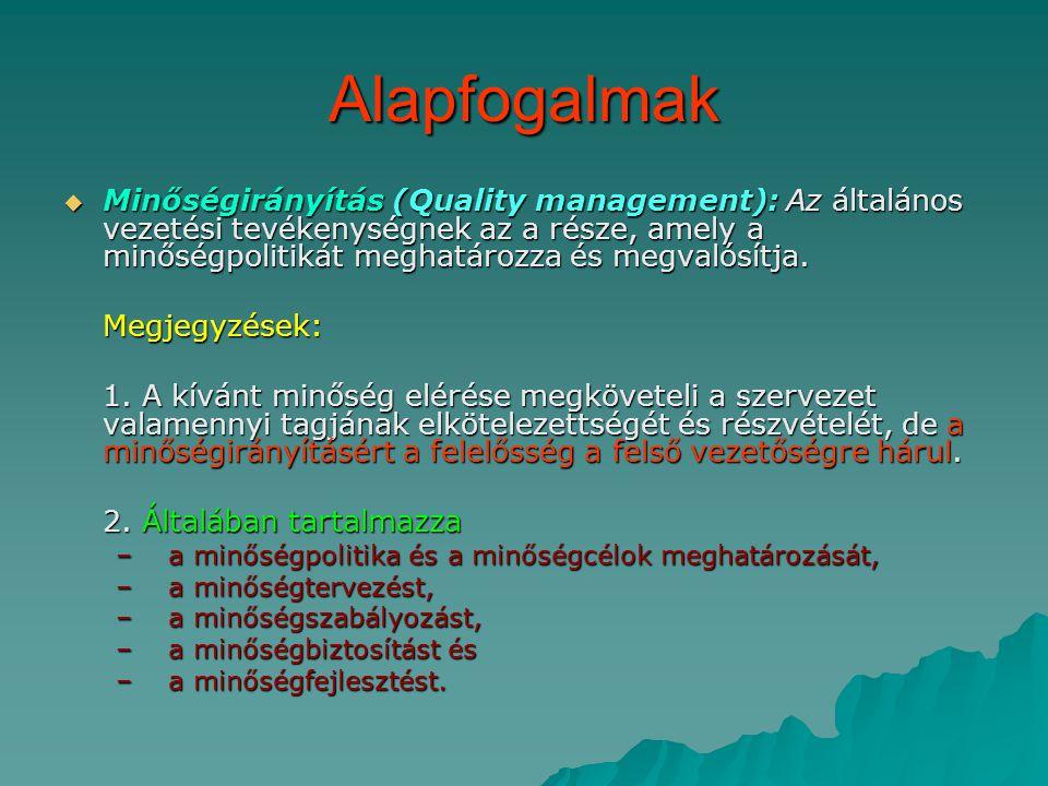 Alapfogalmak  Minőségirányítás (Quality management): Az általános vezetési tevékenységnek az a része, amely a minőségpolitikát meghatározza és megvalósítja.