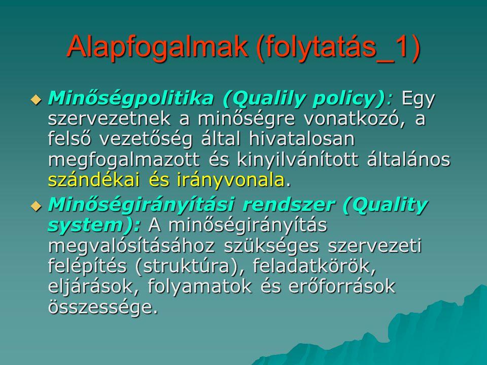 Alapfogalmak (folytatás_1)  Minőségpolitika (Qualily policy): Egy szervezetnek a minőségre vonatkozó, a felső vezetőség által hivatalosan megfogalmazott és kinyilvánított általános szándékai és irányvonala.