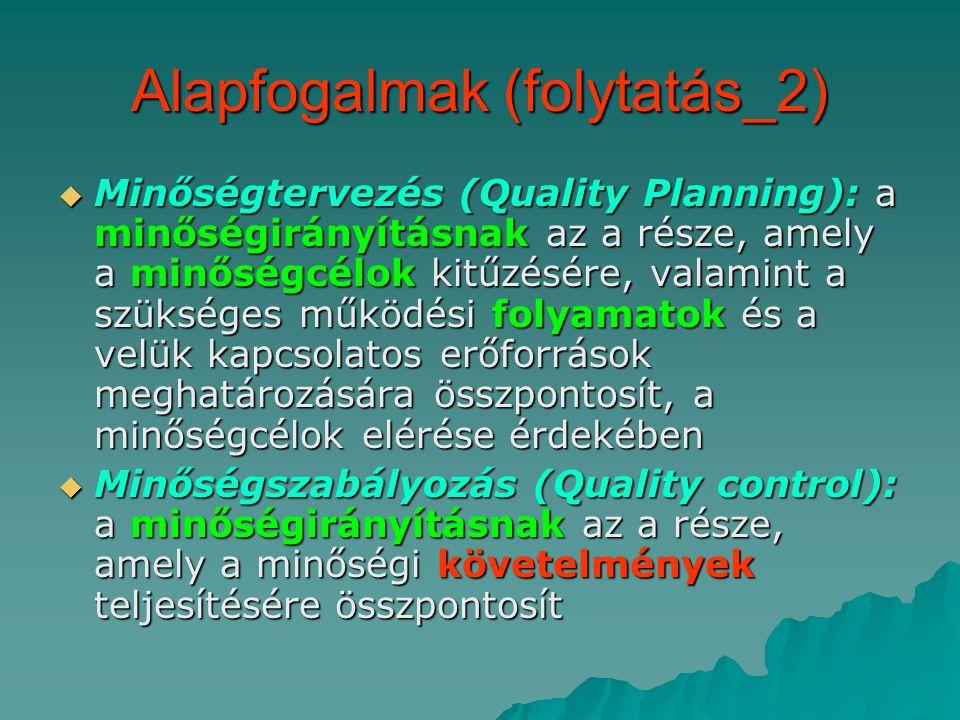 Alapfogalmak (folytatás_2)  Minőségtervezés (Quality Planning): a minőségirányításnak az a része, amely a minőségcélok kitűzésére, valamint a szükséges működési folyamatok és a velük kapcsolatos erőforrások meghatározására összpontosít, a minőségcélok elérése érdekében  Minőségszabályozás (Quality control): a minőségirányításnak az a része, amely a minőségi követelmények teljesítésére összpontosít