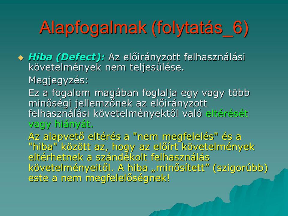Alapfogalmak (folytatás_6)  Hiba (Defect): Az előirányzott felhasználási követelmények nem teljesülése.
