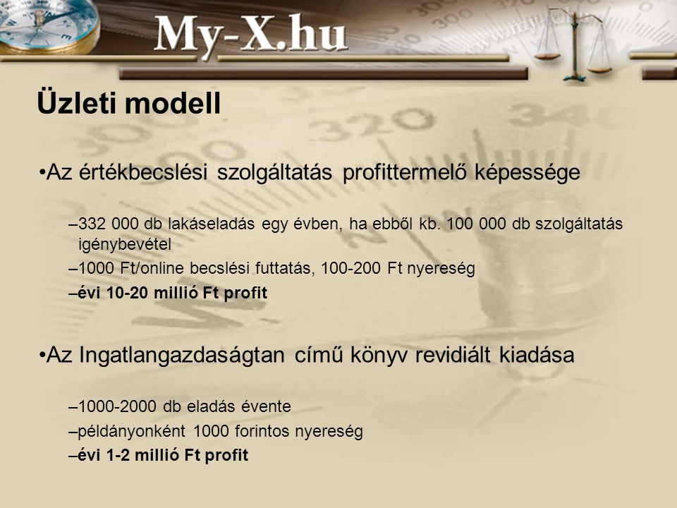 INNOCSEKK 156/2006 Üzleti modell Az értékbecslési szolgáltatás profittermelő képessége –332 000 db lakáseladás egy évben, ha ebből kb.