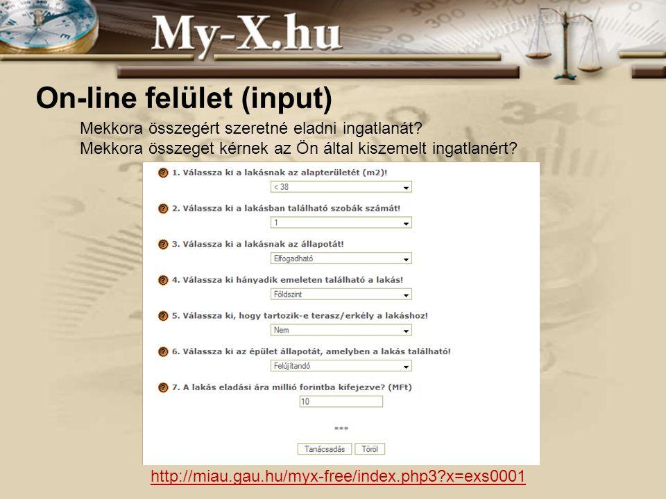 INNOCSEKK 156/2006 On-line felület (input) Mekkora összegért szeretné eladni ingatlanát.