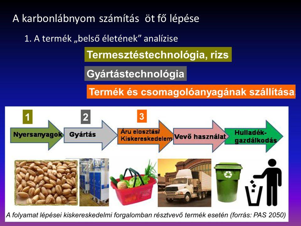 """A karbonlábnyom számítás öt fő lépése 1. A termék """"belső életének analízise"""