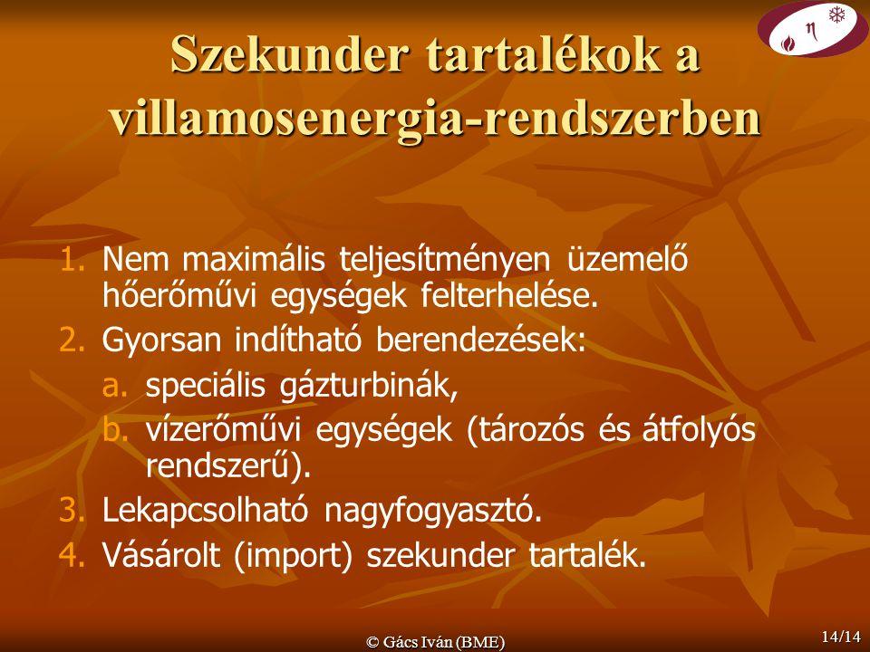 © Gács Iván (BME) 14/14 Szekunder tartalékok a villamosenergia-rendszerben 1.Nem maximális teljesítményen üzemelő hőerőművi egységek felterhelése. 2.G