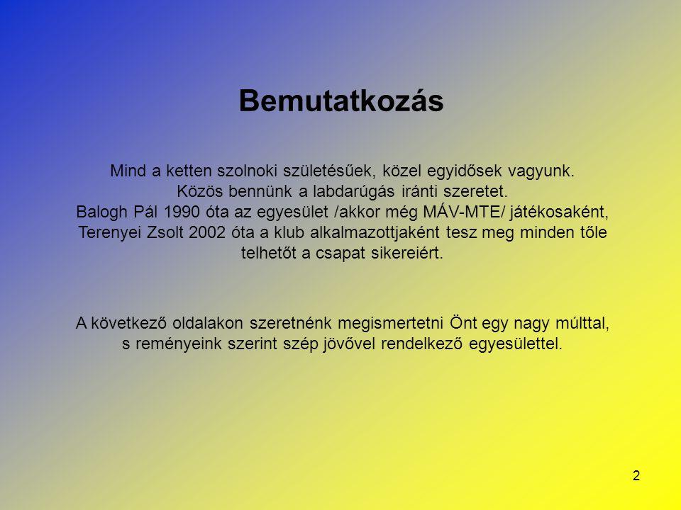 13 Kapcsolatok más szervezetekkel, klubokkal Mint az összes hivatalosan bejegyzett labdarúgó klub, így a Szolnoki MÁV FC Kft.