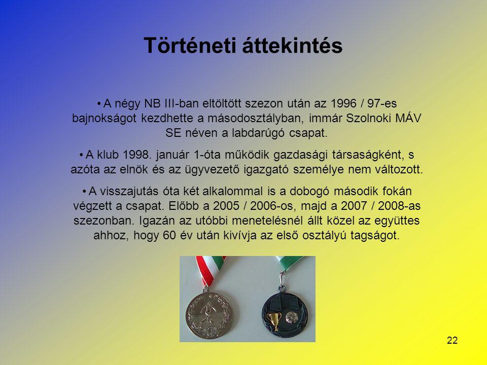 22 Történeti áttekintés A négy NB III-ban eltöltött szezon után az 1996 / 97-es bajnokságot kezdhette a másodosztályban, immár Szolnoki MÁV SE néven a