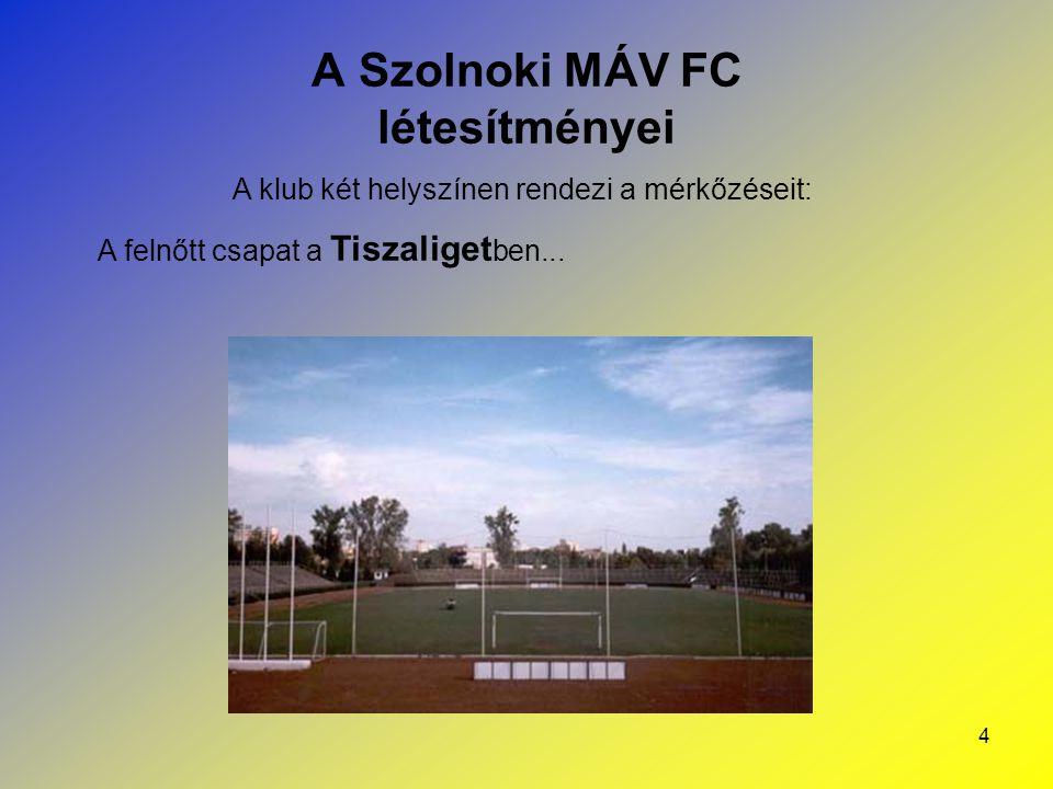 5 A Szolnoki MÁV FC létesítményei A klub két helyszínen rendezi a mérkőzéseit: … még az utánpótlás csapatok a Véső úti Sporttelep en léphetnek pályára.
