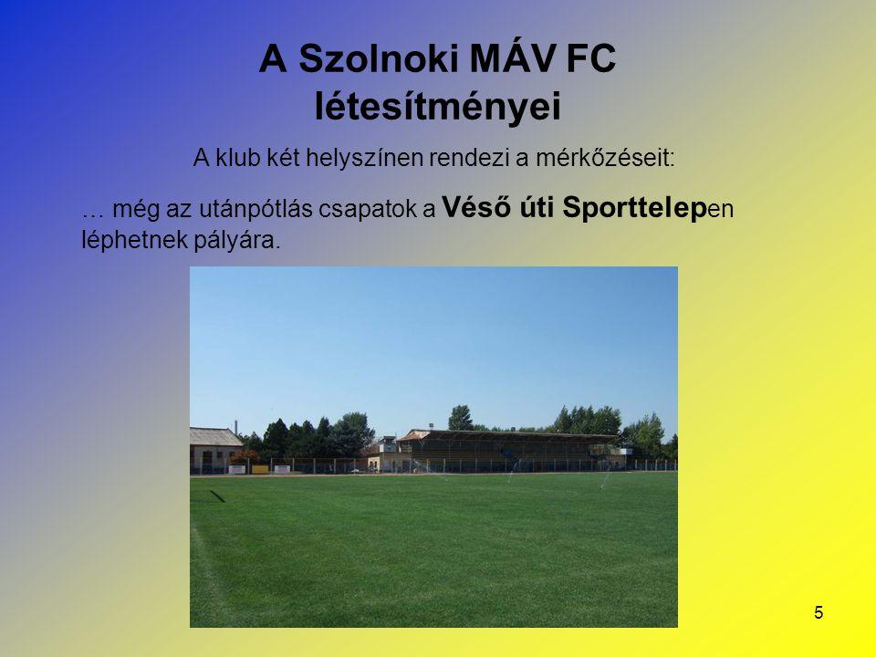 5 A Szolnoki MÁV FC létesítményei A klub két helyszínen rendezi a mérkőzéseit: … még az utánpótlás csapatok a Véső úti Sporttelep en léphetnek pályára