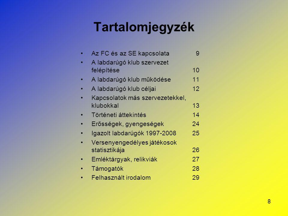 8 Tartalomjegyzék Az FC és az SE kapcsolata9 A labdarúgó klub szervezet felépítése 10 A labdarúgó klub működése 11 A labdarúgó klub céljai 12 Kapcsola