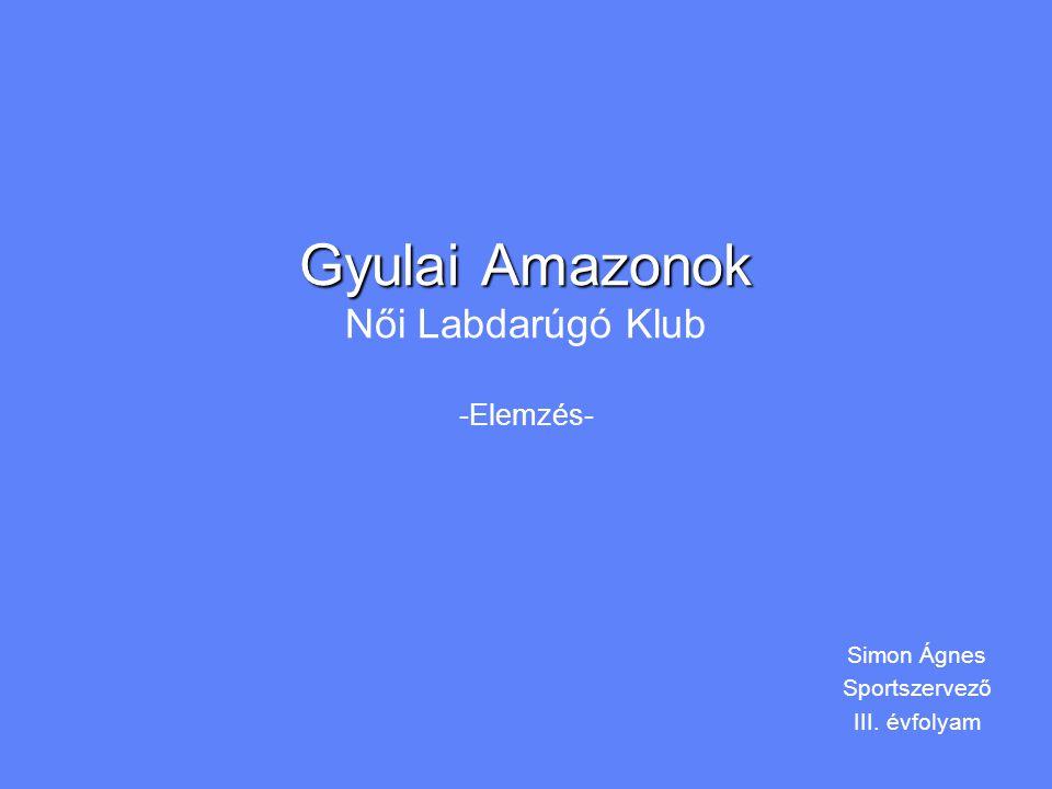 Gyulai Amazonok Gyulai Amazonok Női Labdarúgó Klub -Elemzés- Simon Ágnes Sportszervező III.