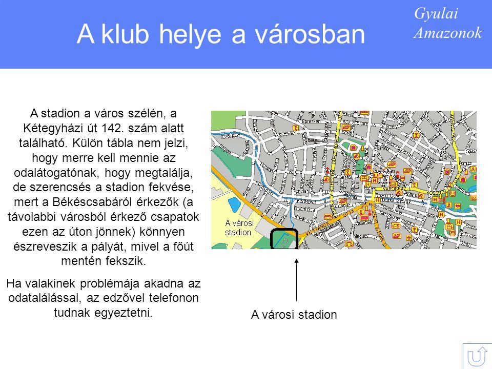 Gyulai Amazonok A klub helye a városban A városi stadion A stadion a város szélén, a Kétegyházi út 142.
