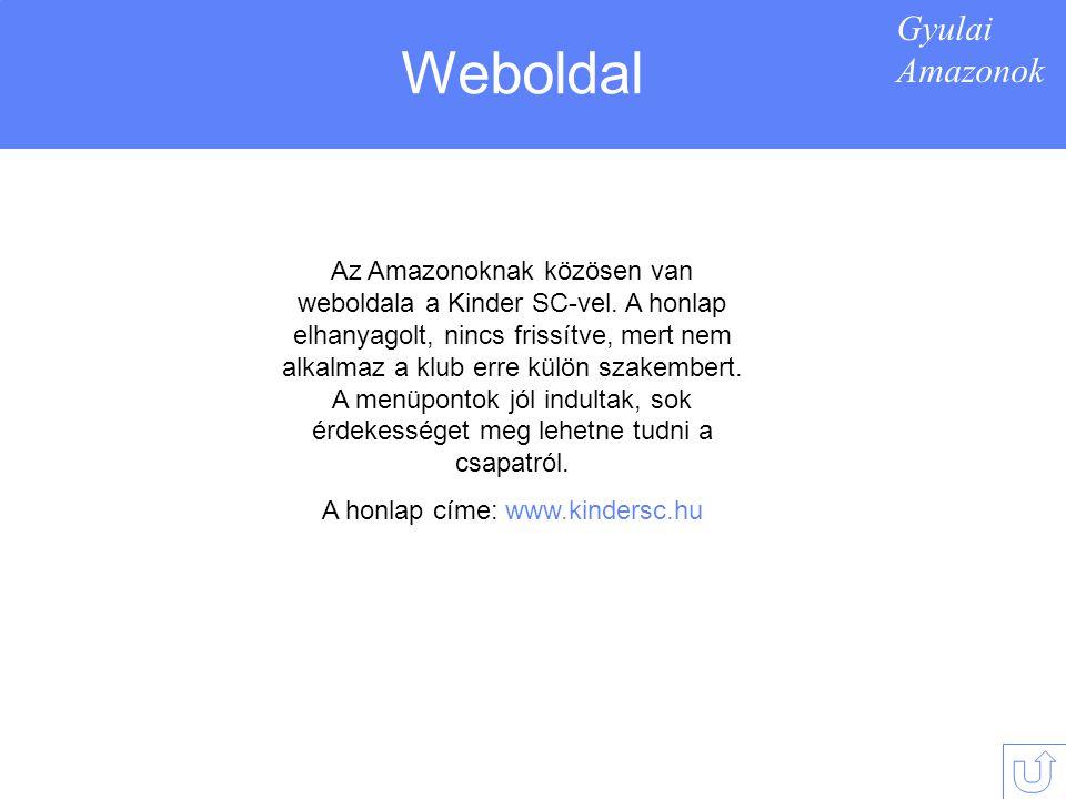 Gyulai Amazonok Weboldal Az Amazonoknak közösen van weboldala a Kinder SC-vel.