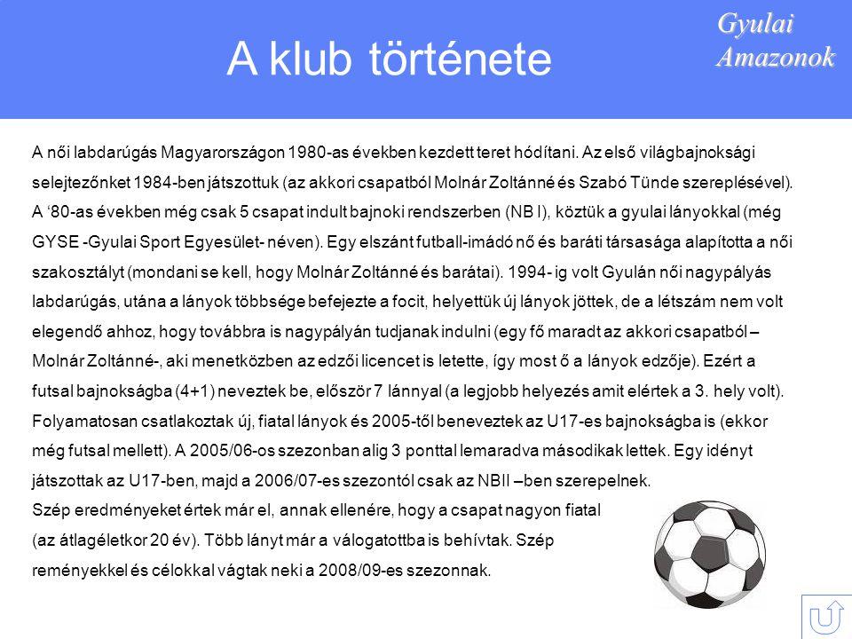 GyulaiAmazonok A klub története A női labdarúgás Magyarországon 1980-as években kezdett teret hódítani.