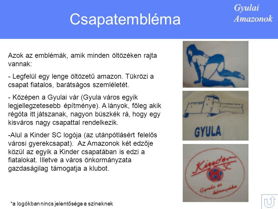 GyulaiAmazonok Csapatembléma Azok az emblémák, amik minden öltözéken rajta vannak: - Legfelül egy lenge öltözetű amazon.