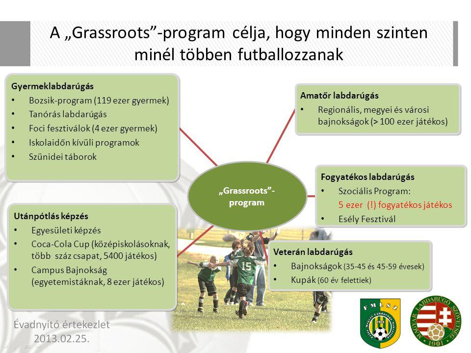 """A """"Grassroots""""-program célja, hogy minden szinten minél többen futballozzanak Gyermeklabdarúgás Bozsik-program (119 ezer gyermek) Tanórás labdarúgás F"""