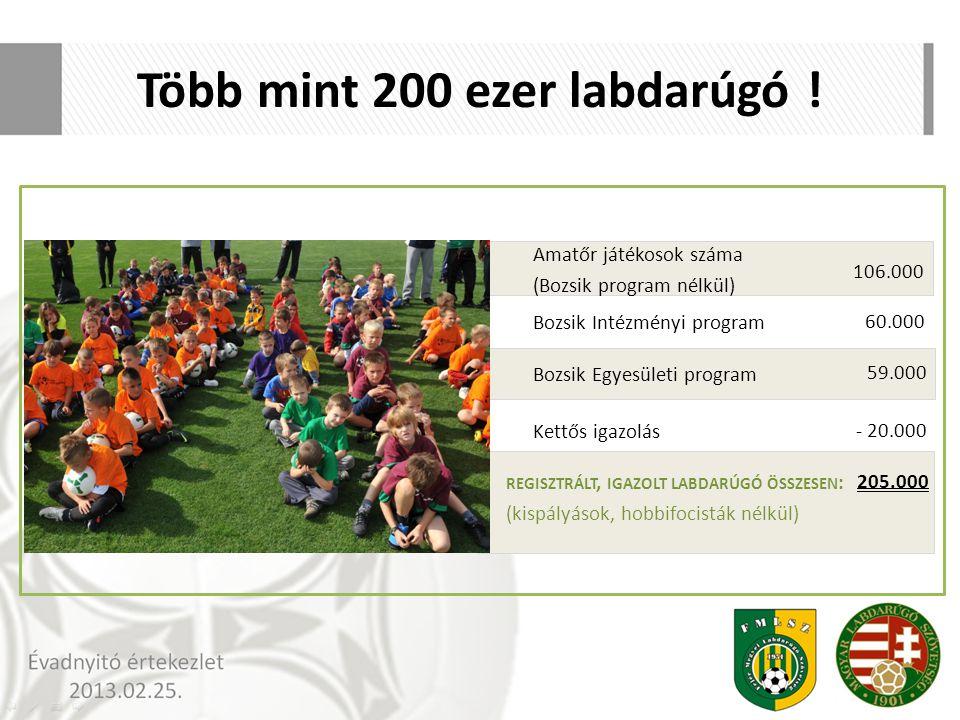 Több mint 200 ezer labdarúgó ! Amatőr játékosok száma (Bozsik program nélkül) 106.000 Bozsik Intézményi program 60.000 Bozsik Egyesületi program Kettő