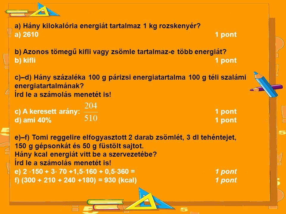 a) Hány kilokalória energiát tartalmaz 1 kg rozskenyér? a) 26101 pont b) Azonos tömegű kifli vagy zsömle tartalmaz-e több energiát? b) kifli1 pont c)–