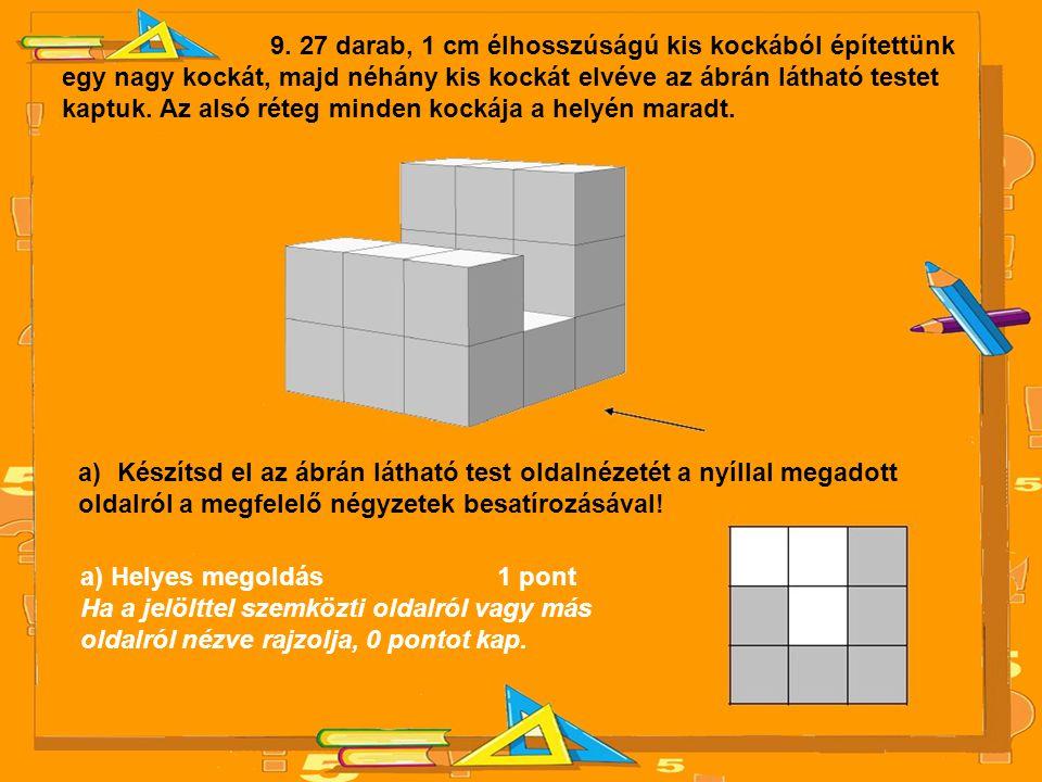 9. 27 darab, 1 cm élhosszúságú kis kockából építettünk egy nagy kockát, majd néhány kis kockát elvéve az ábrán látható testet kaptuk. Az alsó réteg mi