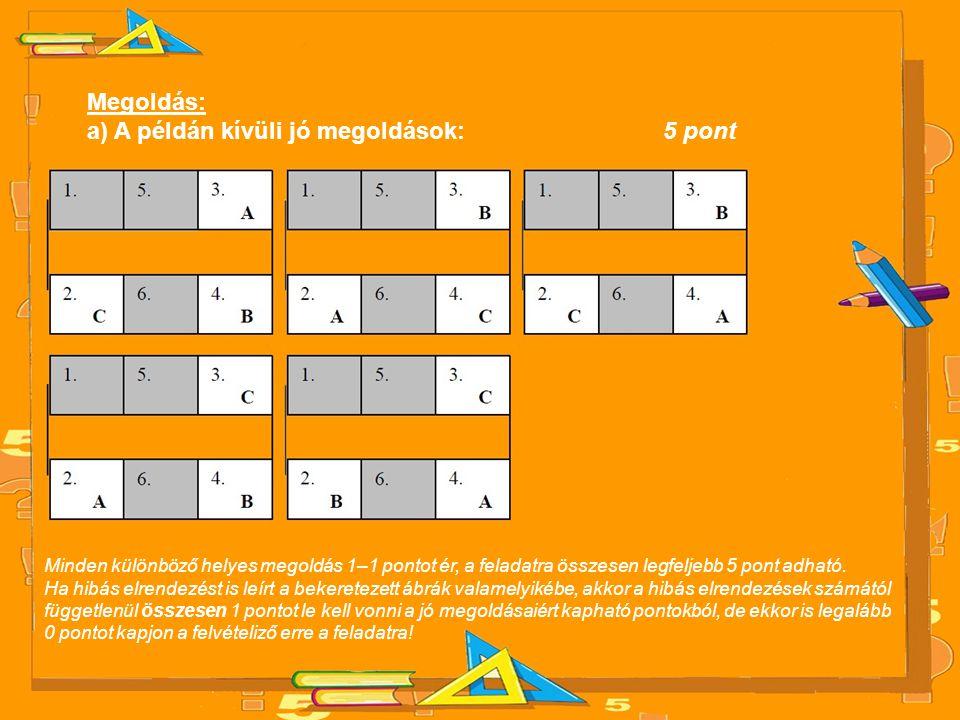 Megoldás: a) A példán kívüli jó megoldások:5 pont Minden különböző helyes megoldás 1–1 pontot ér, a feladatra összesen legfeljebb 5 pont adható. Ha hi